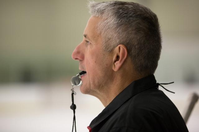 Bob Hartley directing drills at his Honda hockey camp