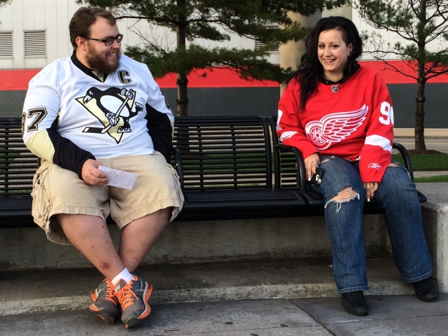 Penguins and Red Wings together © J. Ashley Nixon