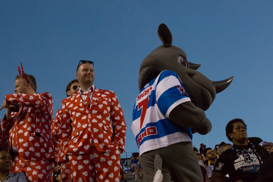 Valentines celebrate with the Rhino Rugby mascot