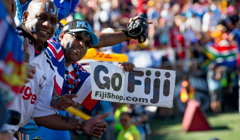 Fiji fans celebrate their win against South Africa