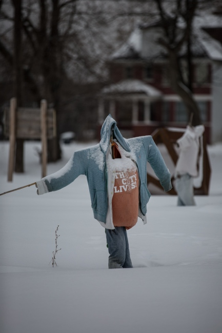 Scarecrow awaits winter's end at MUFI urban farm, Brush Street, Detroit  © J. Ashley Nixon