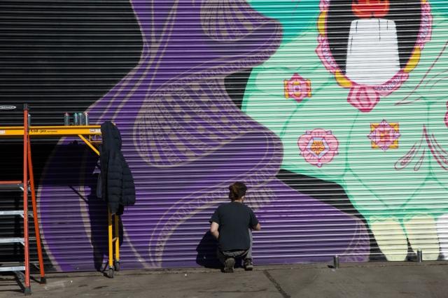 Mural underway next to Lincoln Street Art Park, Detroit Photograph: © J. Ashley Nixon