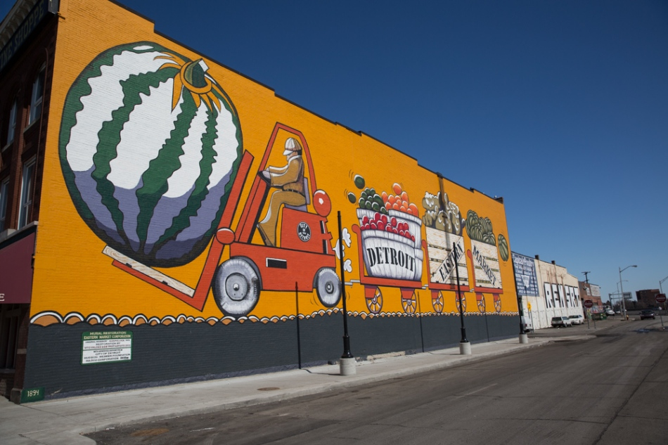Mural by Poolocck, restored by V and other Detroit artists, Eastern Market, Detroit Photograph: © J. Ashley Nixon