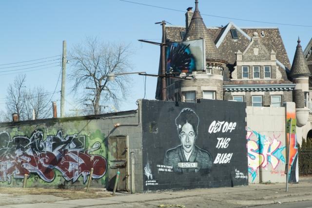 Mural by Sintex. Grand River Creative Corridor, Detroit. Photograph: © J. Ashley Nixon