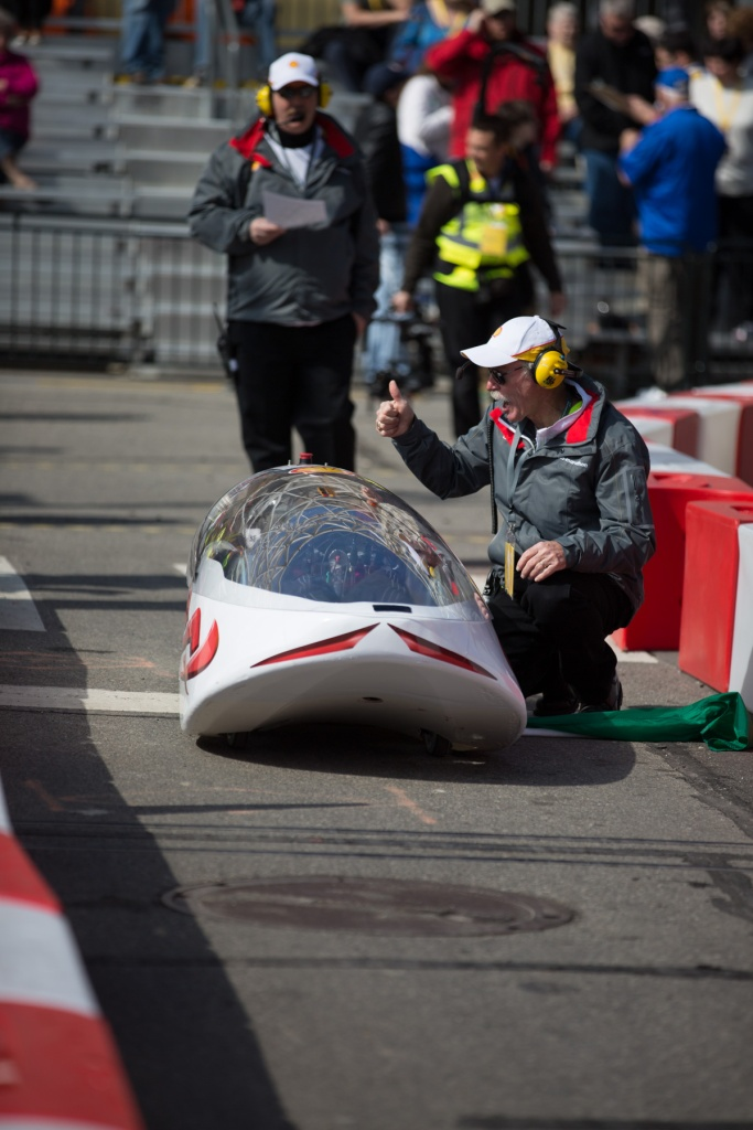 The Chiefs vehicle from Goshen High School, USA gets the thumbs up at the start line, Cobo Centre, Detroit © J. Ashley Nixon