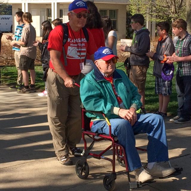 Worl War II Veterans from Kansas visiting their War Memorial in Washington DC © J. Ashley Nixon