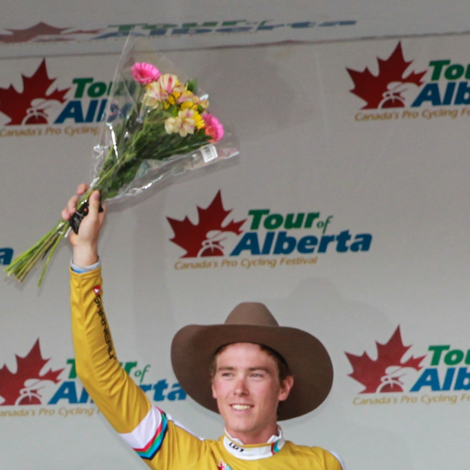 Rohan Dennis on the podium in Calgary as winner of the first Tour of Alberta, 2013 © J. Ashley Nixon