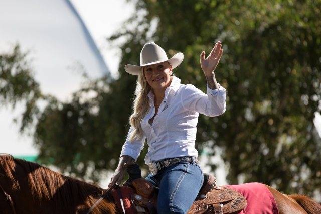 Olympic gold-medallist bobsledder, Kaillie Humphries-Calgary Stampede Parade Marshall, 2015 © J. Ashley Nixon