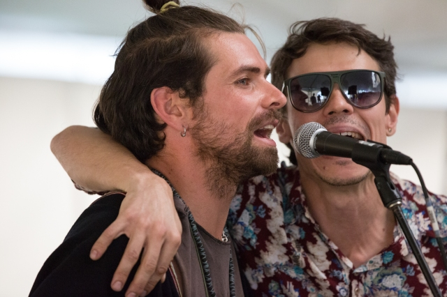 Quien es más macho? Latin folk workshop at the Calgary Folk Music Festival (Davide Salvado & member of Puerto Candelaria,  July 25, 2015 © J. Ashley Nixon