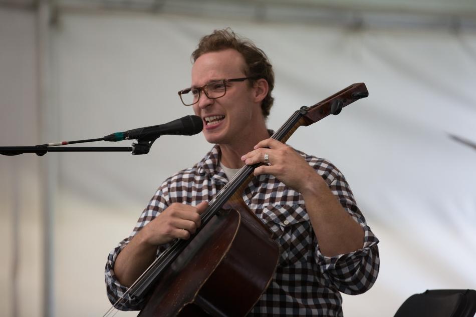 Ben Sollee playing in the solar powered FestivalHall, Calgary Folk Music Festival, July 26, 2015 © J. Ashley Nixon
