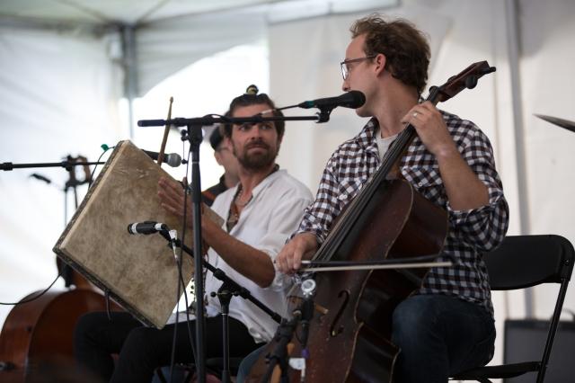 Galician traditional singer, Davide Salvado (playing Pandero Cuadrado de Peñaparda) with Ben Sollee (cello)