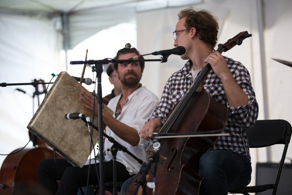Galician traditional singer, Davide Salvado (playing Pandero Cuadrado de Peñaparda) with Ben Sollee (cello)