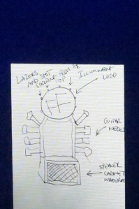Sketch drawn by Dave Grohl, showing his seating concept to continue with the Foo Fighters World Tour (copy of photo shown from the stage)