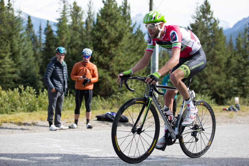 Ryder Hesjdal (Cannondale-Garmin made a late break but got caught by other riders in the final up to Marmot Basin Ski Resort