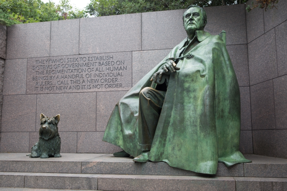 Franklin D. Roosevelt and his dog, Fala. Part of the US President's memorial in Washington DC, designed by Lawrence Halprin. © J. Ashley Nixon