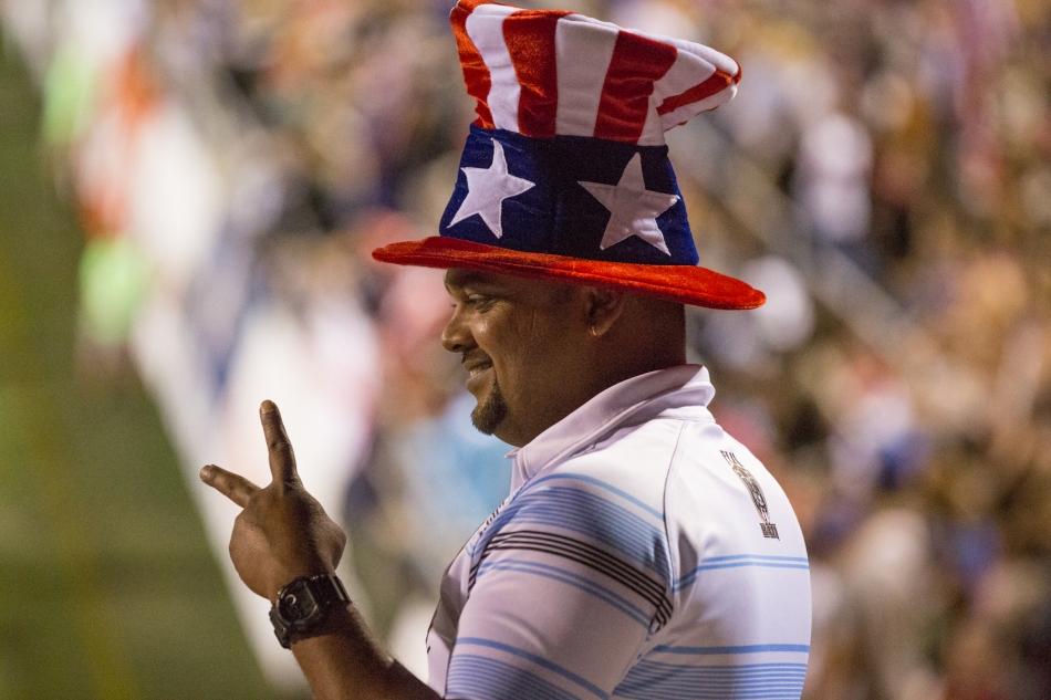 Team USA rugby fan at the International Sevens tournament, Las Vegas, February 2015 © J. Ashley Nixon