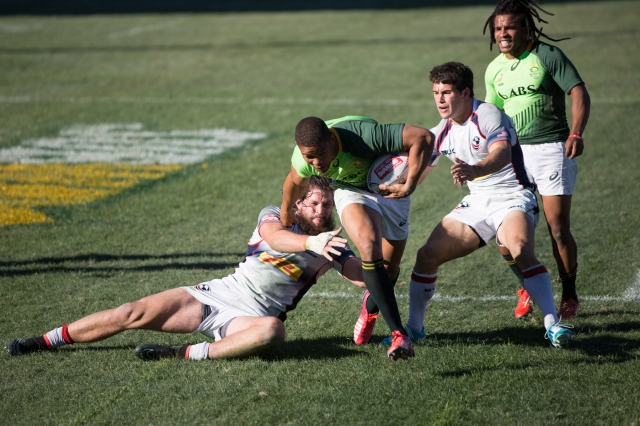 Team USA in action against South Africa in the World Rugby Sevens, Las Vegas, February 2015 © J. Ashley Nixon