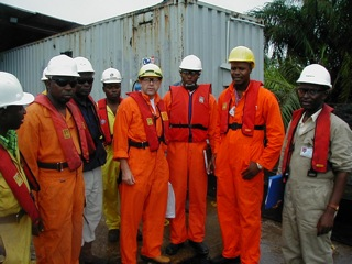 With the pipeline construction team, Odidi, Nigeria