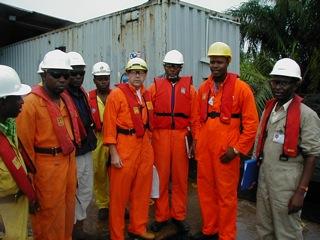 With the pipeline construction team, Odidi, Nigeria