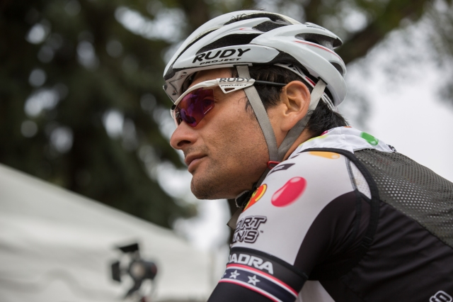 "Fred ""Fast Freddy"" Rodriguez at the starting line in Edmonton for Stage 6 of the cycling Tour of Alberta © J. Ashley Nixon"