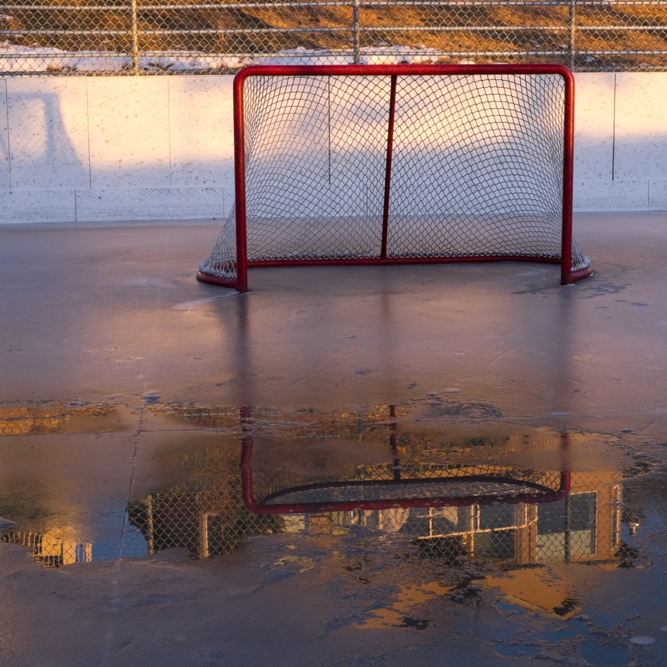 End of the season's ice? Battalion Park Outdoor Arena, Calgary, Canada © J. Ashley Nixon