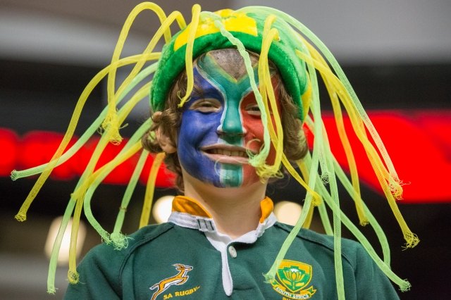 Young South Africa rugby fan at the HSBC Canada Sevens in Vancouver. © J. Ashley Nixon