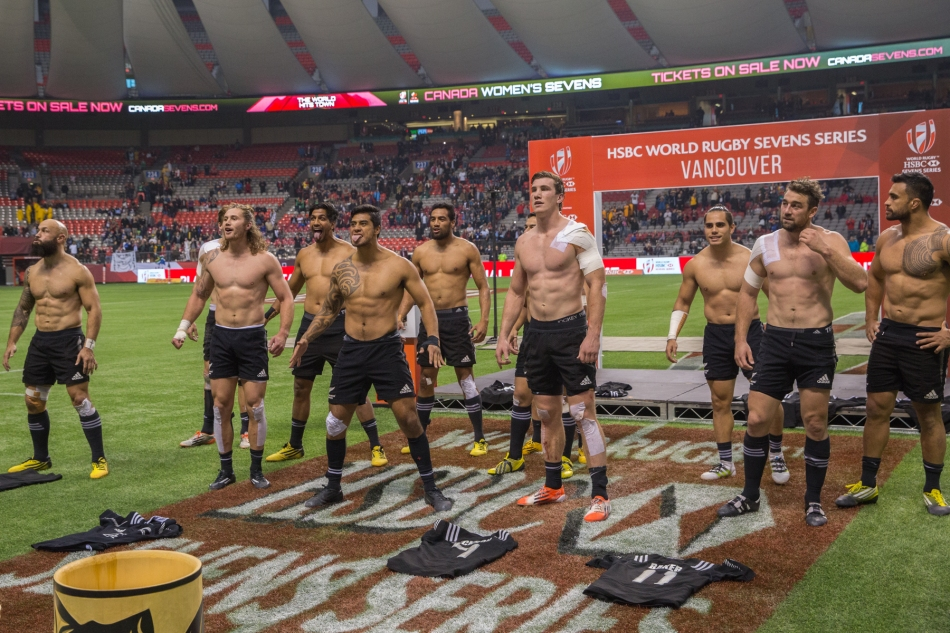 New Zealand 7s perform a post-match Haka at BC Place to celebrate their win in the HSBC Canada Sevens in Vancouver, Canada. © J. Ashley Nixon
