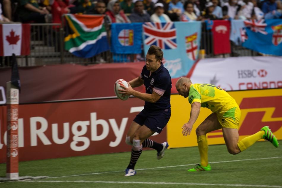 Gavin Lowe scores Scotland's second try in their Cup Quarter Final tie versus Australia. © J. Ashley Nixon