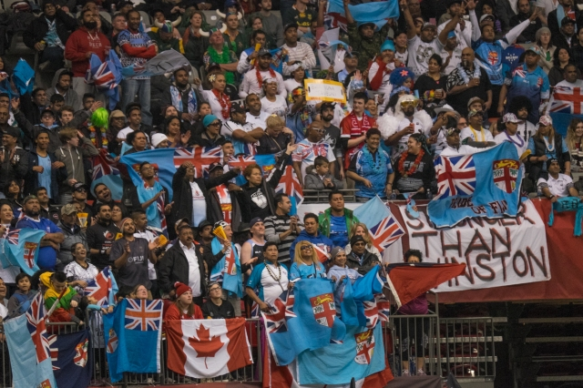 Fiji fans in party spirits at BC Place, Vancouver for the HSBC Canada Sevens © J. Ashley Nixon