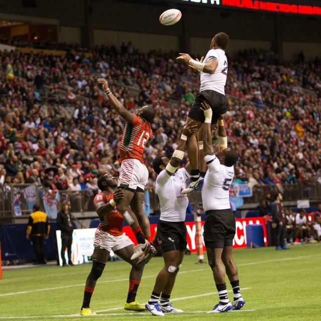 Line out action between Fiji and Kenya in the Pool games, HSBC Canada Sevens © J. Ashley Nixon