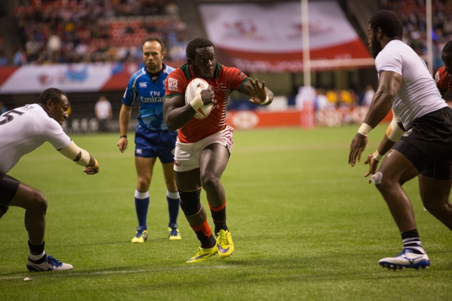 Kenya's second try in their game versus Fiji in the HSBC World Rugby Sevens Series at BC Place, Vancouver © J. Ashley Nixon