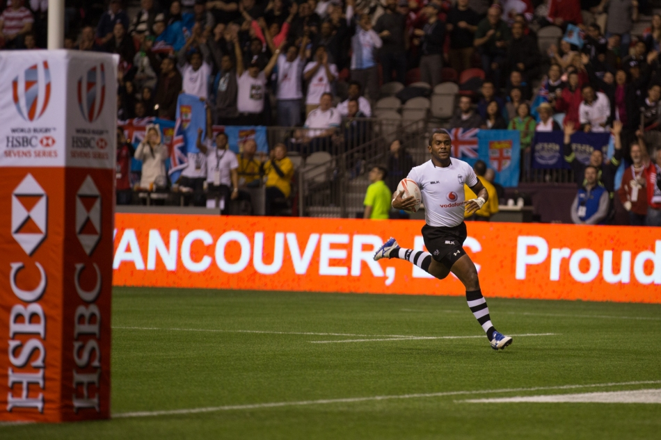 Taliga scores the winning try for Fiji in their pool game versus Kenya at the HSBC Canada Sevens © J. Ashley Nixon