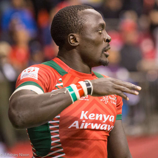 Collins Injera in action for Kenya Rugby 7s versus Fiji at the Vancouver round of the HSBC World Rugby Sevens 2016 © J. Ashley Nixon