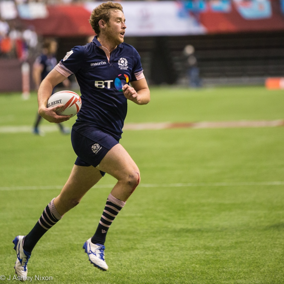 Scotland rugby sevens captain, Scott Wight playing against South Africa in the Vancouver round of the World Rugby HSBC Sevens Series © J. Ashley Nixon