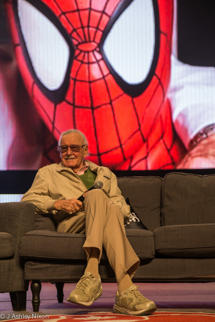 Stan Lee at the Calgary Expo 2016 talking about his life and work, writing Marvel comicbook stories © J. Ashley Nixon