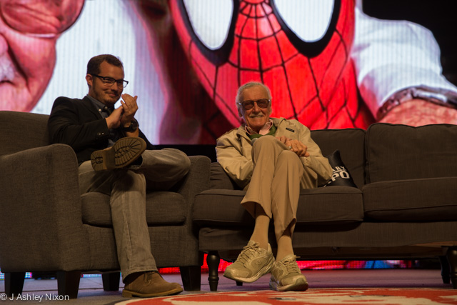 Host Dan O'Brien with Stan Lee on stage for a panel at the Calgary Expo 2016. © J. Ashley Nixon