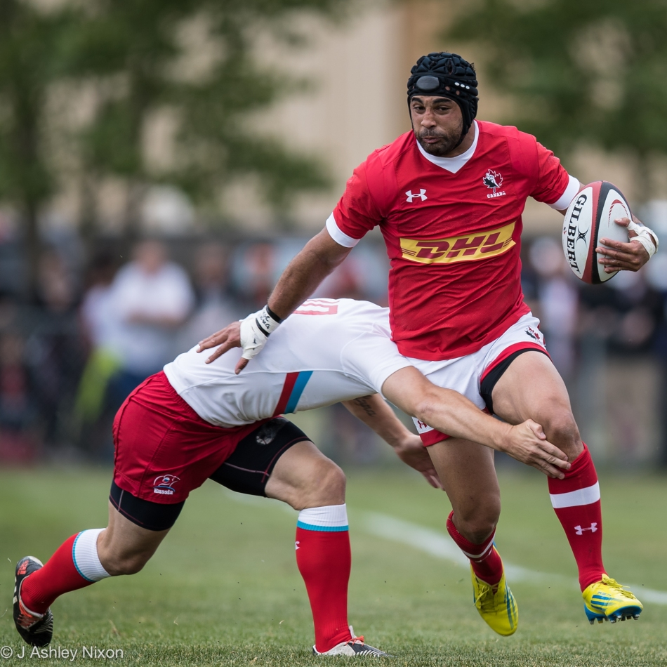 Mozac Samson in action for Canada versus Russia in the international rugby game at Calgary Rugby Union © J. Ashley Nixon