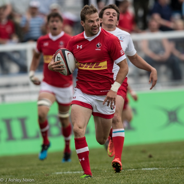 Gordon McRorie (Calgary Hornets & Prairie Wolf Pack) scores his second try of the game for Canada versus Russia at Calgary Rugby Park, Calgary, Alberta