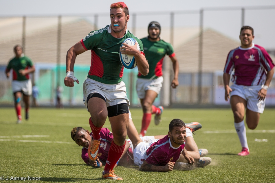 Mexico U18 centre #12 scoring one of his three tries in the international game versus Venezuela in Chiclayo, Lambayeque, Peru © J. Ashley Nixon