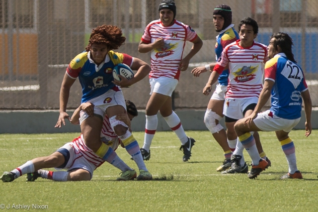 Colombia and Peru U18 in action at the South America rugby tournament, Chiclayo, Lambayeque, Peru © J. Ashley Nixon