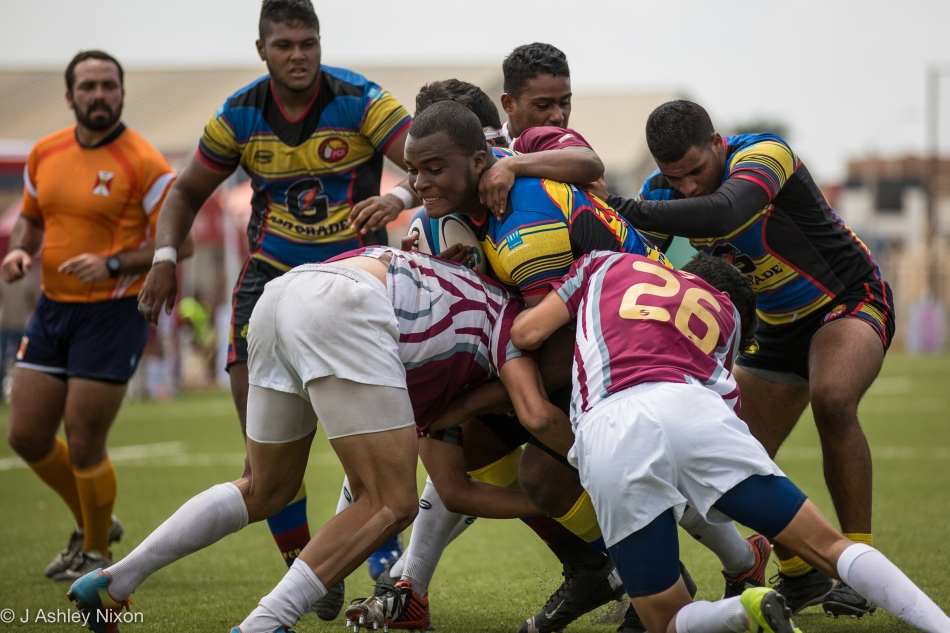 Packs in action in the international U18 rugby game between Venezuela and Colombia in Chiclayo, Lambayeque, Peru © J. Ashley Nixon