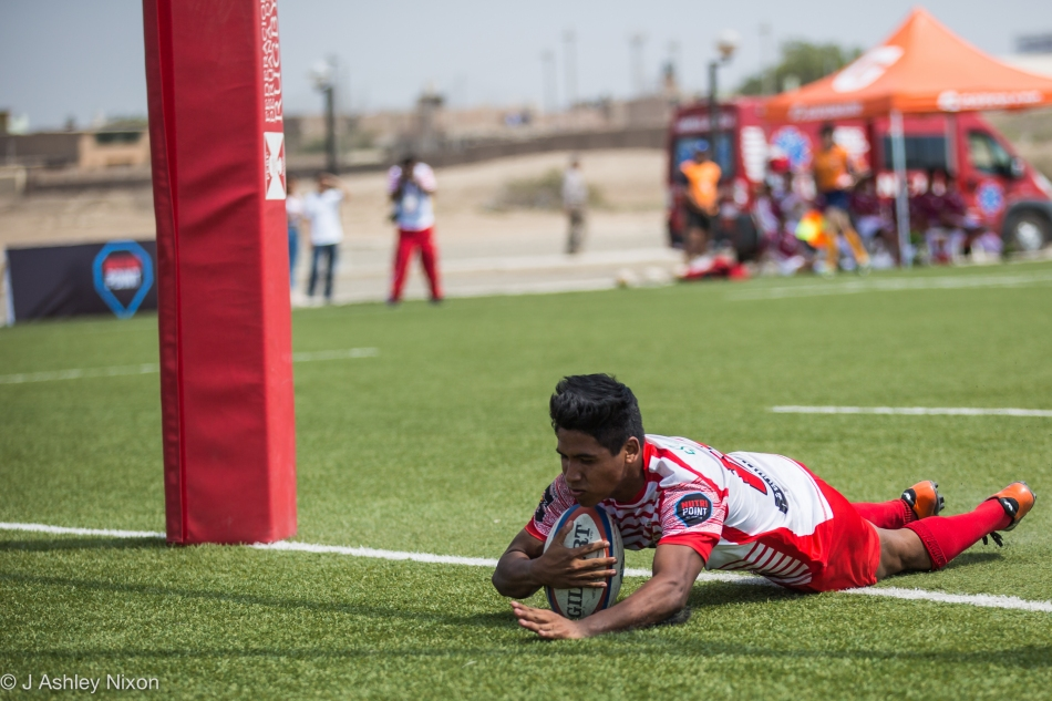 Diego Severino Salazar scores one of his three tries for Peru in their game against Venezuela in the South America U18 rugby tournament, Chiclayo, Peru. © J. Ashley Nixon
