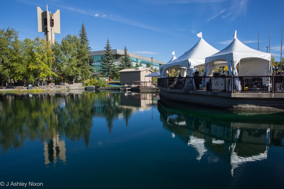 View from the back: Mount Royal University ampitheatre stage and lake during the Mother Mother gig. © J. Ashley Nixon
