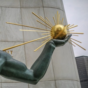 The Spirit of Detroit. Sculpture by Marshall Fredericks on Woodward Avenue, Detroit, MI, USA. 3: Hand holding a sphere projecting rays of light as a symbol of God © J. Ashley Nixon