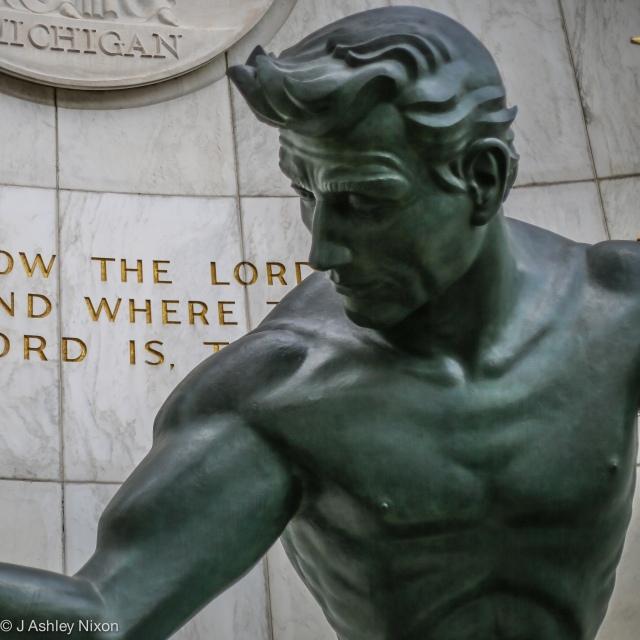 The Spirit of Detroit. Sculpture by Marshall Fredericks on Woodward Avenue, Detroit, MI, USA. 1: Head © J. Ashley Nixon