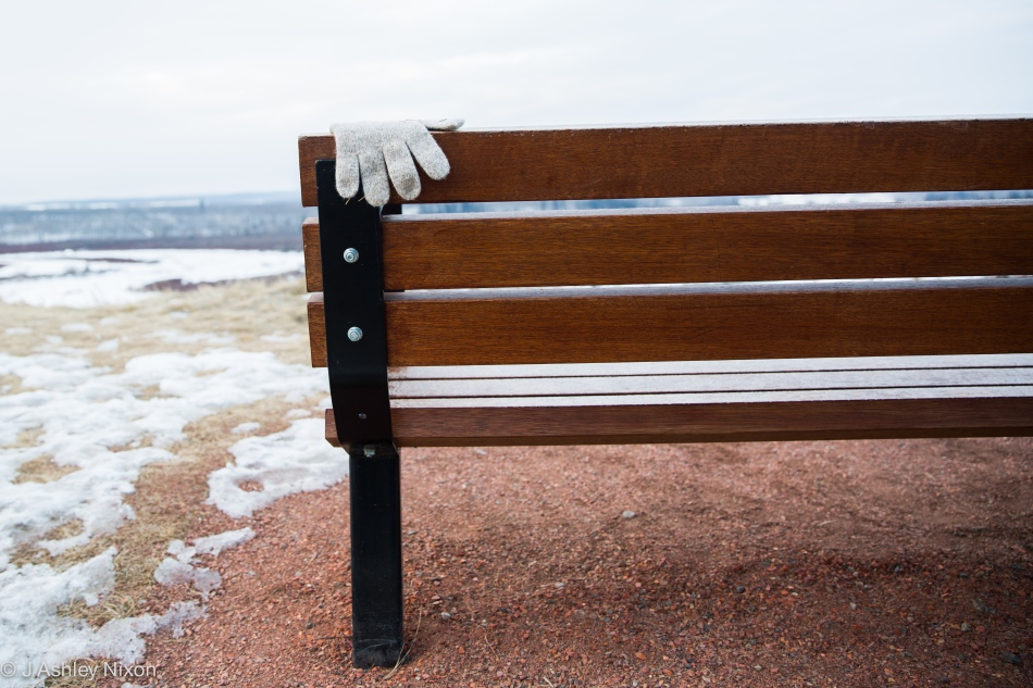 Glove on bench. Glenmore Park, Calgary Feb 1, 2016. © J. Ashley Nixon