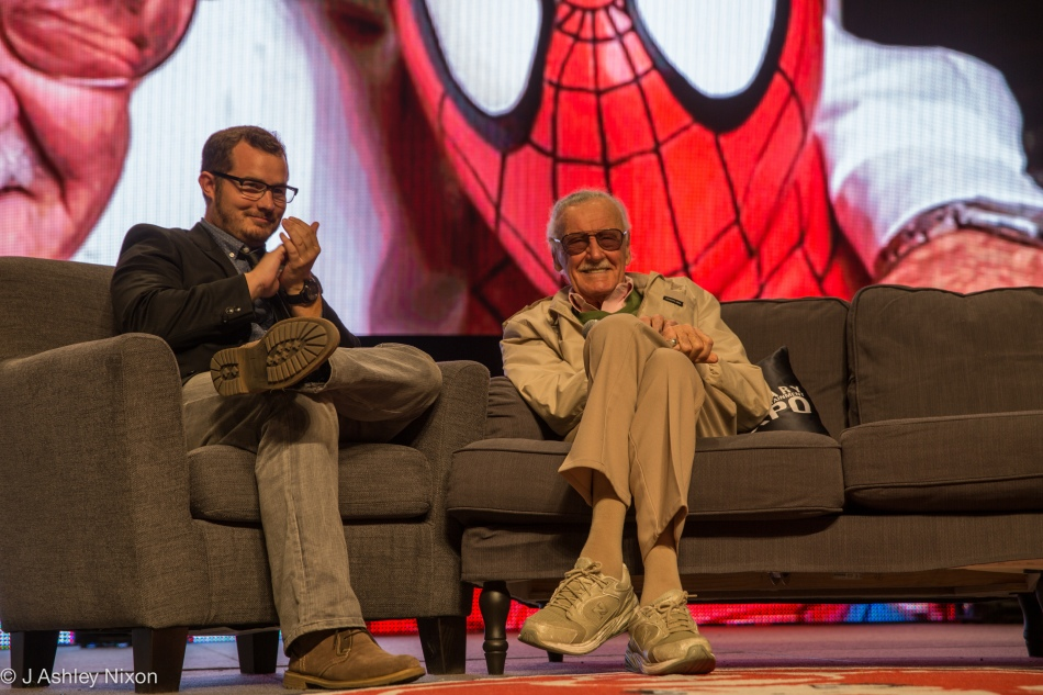 Stan Lee telling stories with host, Dan O'Brien on stage at the Calgary Expo 2016. © J. Ashley Nixon