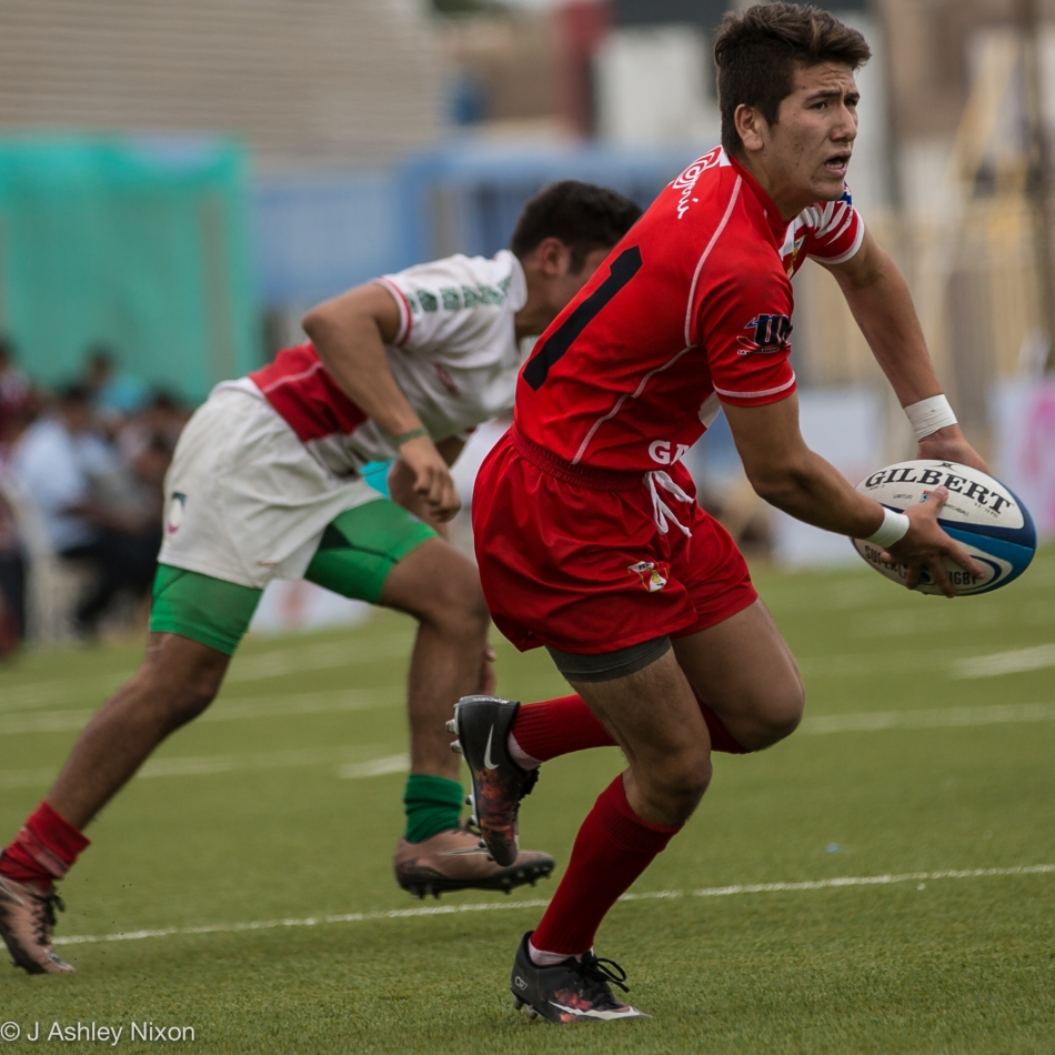 William Nixon (Calgary Canucks) in action for Peru at the South America U18 rugby tournament, Chiclayo, Peru, Round 2: Peru vs Mexico. © J. Ashley Nixon