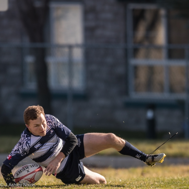 Try scored. Mount Royal University (MRU) versus UBCO (Okanagan) in Calgary, Canada. © J. Ashley Nixon