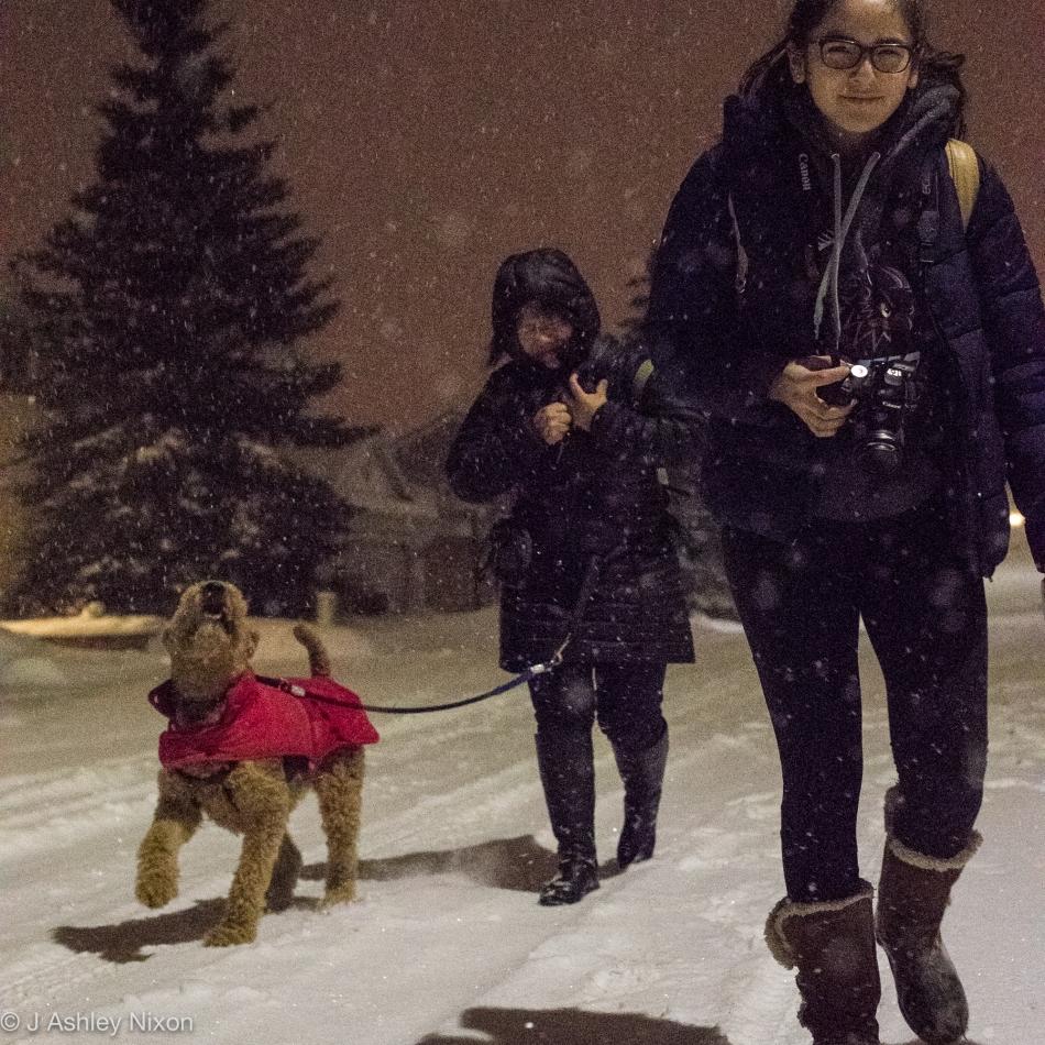 First walk around the block in Peruvian style to celebrate the 2017 New Year in Calgary, Canada. © J. Ashley Nixon